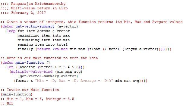 Multi-value Return in Lisp